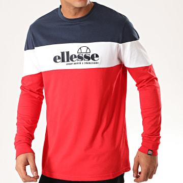 Ellesse - Tee Shirt Manches Longues Tricolore Fermo SHD08107 Rouge Blanc Bleu Marine