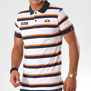 Polo Manches Courtes A Rayures Saca SHD08115 Blanc Bleu Marine Orange