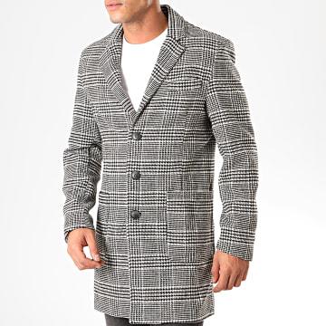 Manteau A Carreaux 2063 Blanc Noir