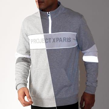 Project X - Sweat Col Zippé 1920040 Gris Chiné Réfléchissant