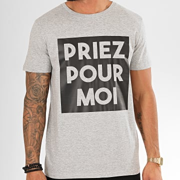 Tee Shirt Priez Pour Moi Gris Chiné