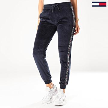 Pantalon Jogging Femme Velours A Bandes Track 2042 Bleu Marine