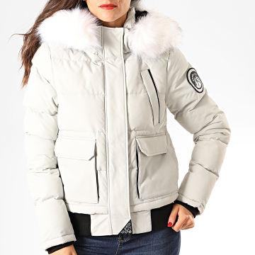 Superdry - Blouson Capuche Fourrure Femme Everest Ella W5000018A Gris Clair Blanc