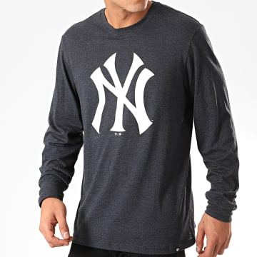 Tee Shirt Manches Longues New York Yankees Bleu Marine Chiné