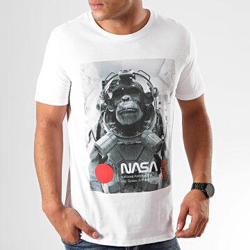 Tee Shirt Chimp In Space Blanc