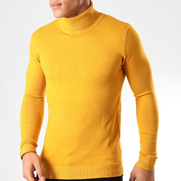 Pull Col Roulé ZW001 Jaune Moutarde