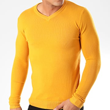 Pull Col V ZW003 Jaune Moutarde