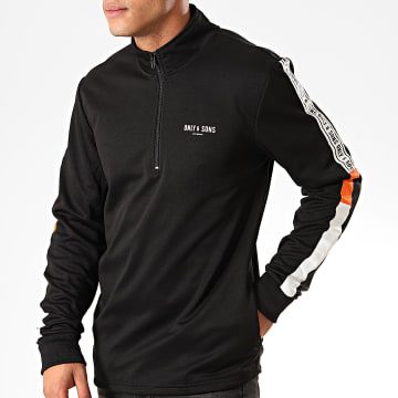 Only And Sons - Sweat Col Zippé A Bandes Tracker Poly Noir Blanc Orange