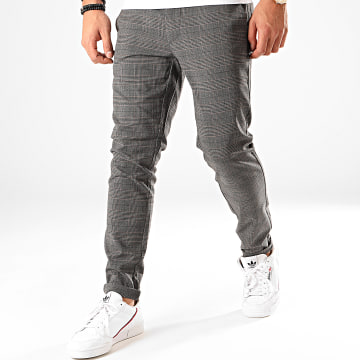 Only And Sons - Pantalon Chino A Carreaux Mark Gris Anthracite