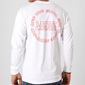 Vans - Tee Shirt Manches Longues Framework A49KH Blanc Rouge