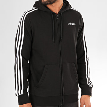 Sweat Zippé Capuche A Bandes Essentials DQ3102 Noir Blanc