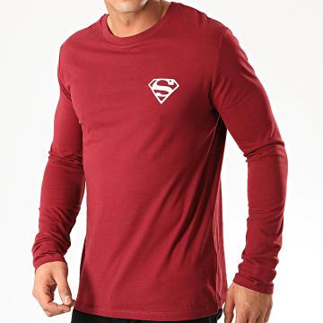 DC Comics - Tee Shirt Manches Longues Logo Recto Verso Bordeaux