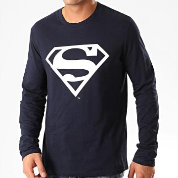 DC Comics - Tee Shirt Manches Longues Big Logo Bleu Marine