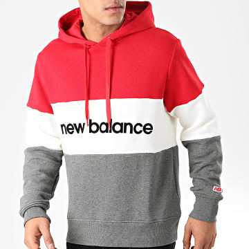 New Balance - Sweat Capuche 742240 Rouge Ecru Gris Anthracite Chiné