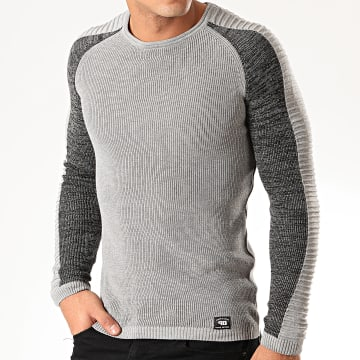 Paname Brothers - Pull A Bandes PNM-010 Gris Chiné