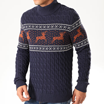 Selected - Pull Col Montant Reindeer Structure Bleu Marine