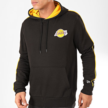 Sweat Capuche NBA Stripe Piping Los Angeles Lakers Noir Jaune