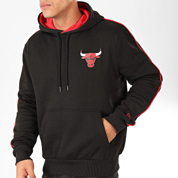 New Era - Sweat Capuche NBA Stripe Piping Chicago Bulls Noir Rouge