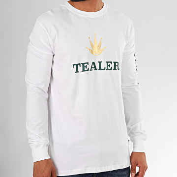 Tealer - Tee Shirt Manches Longues Time Is Money Blanc Vert Doré