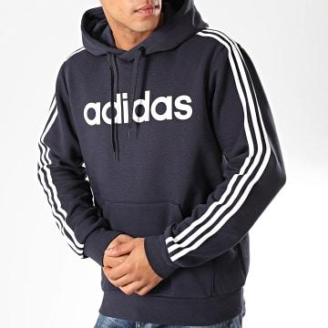 Adidas Originals - Sweat Capuche A Bandes Essentials PO DU0494 Bleu Marine Blanc