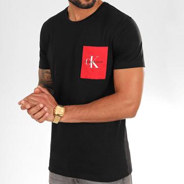Calvin Klein - Tee Shirt Poche Monogram 4070 Noir Rouge
