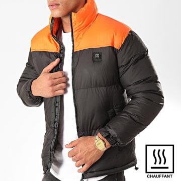 John H - Doudoune Chauffante Slim Fit 6615 Noir Orange