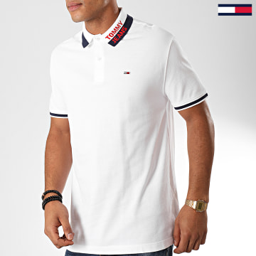 Polo Manches Courtes Branded Collar 7451 Blanc Bleu Marine Rouge