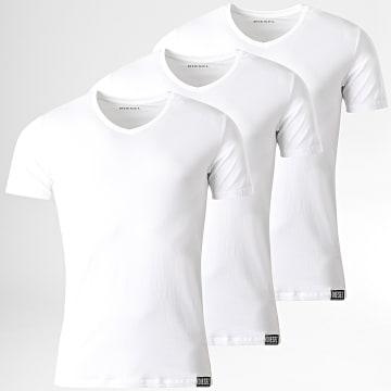 Diesel - Lot De 3 Tee Shirts Col V Michael 00SHGU-0QAZY Blanc