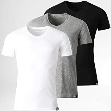 Diesel - Lot De 3 Tee Shirts Col V Michael 00SHGU-0QAZY Blanc Noir Gris Chiné
