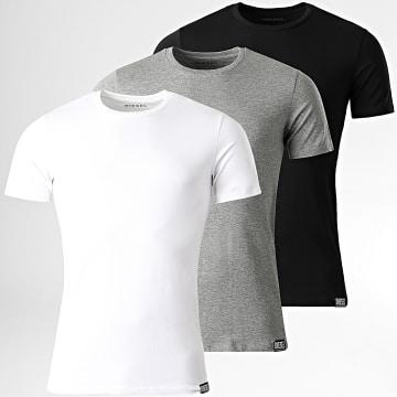 Diesel - Lot De 3 Tee Shirts Randal 00SJ5L-0QAZY Blanc Noir Gris Chiné
