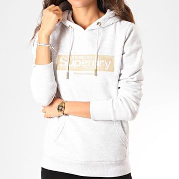 Sweat Capuche Femme Premium Brand Embroidered Box W2000084B Gris Chiné Doré