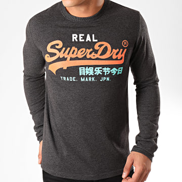 Superdry - Tee Shirt Manches Longues VL Desert M6000037A Gris Anthracite Chiné