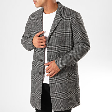Manteau A Carreaux Moulder Gris