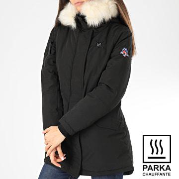 Parka Chauffante Femme Capuche Fourrure Gentiane Noir Blanc