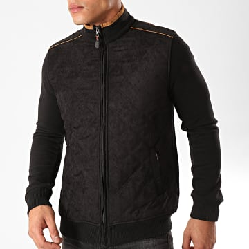 Black Needle - Veste Zippée Suédine F-104 Noir Marron