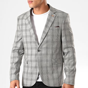 Black Needle - Veste Blazer A Carreaux 6024 Gris