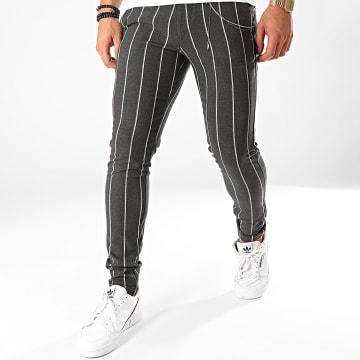 GRJ Denim - Pantalon Chino A Rayures A19Y2235 Gris Anthracite Chiné
