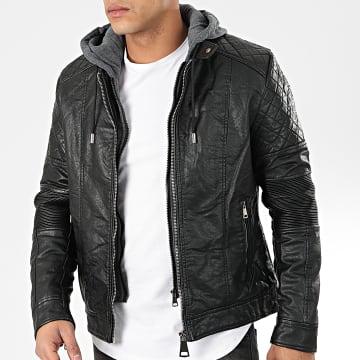 Veste Biker Capuche XH-88191A Noir Gris Anthracite