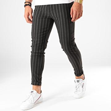 Pantalon A Rayures 1659 Noir Gris Anthracite