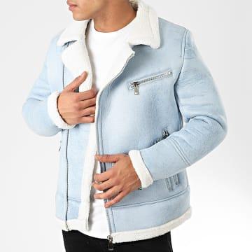 Frilivin - Blouson Col Mouton QQ551 Bleu Ciel