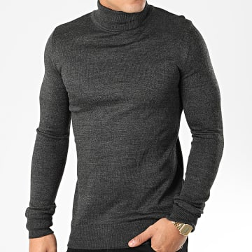 Pull Col Roulé AAP001 Gris Anthracite Chiné