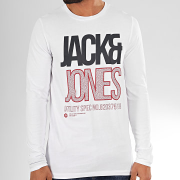 Jack And Jones - Tee Shirt Manches Longues Booth Blanc