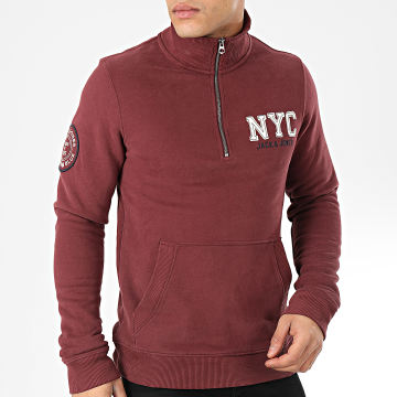 Jack And Jones - Sweat Col Zippé Jayden Bordeaux