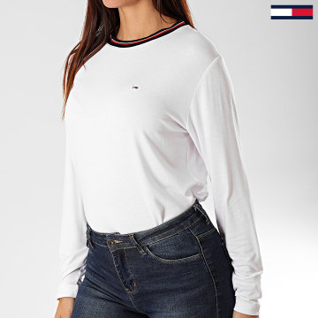 Tommy Hilfiger - Tee Shirt Femme Manches Longues Crepe Solid 7562 Blanc