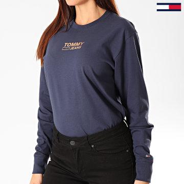 Tommy Jeans - Tee Shirt Femme Manches Longues Chest Metallic 7538 Bleu Marine