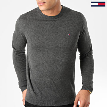 Tommy Hilfiger - Pull Core Cotton-Silk 4978 Gris Anthracite Chiné
