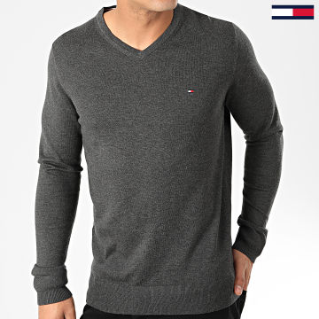 Tommy Hilfiger - Pull Col V Core Cotton-Silk 4979 Gris Anthracite Chiné