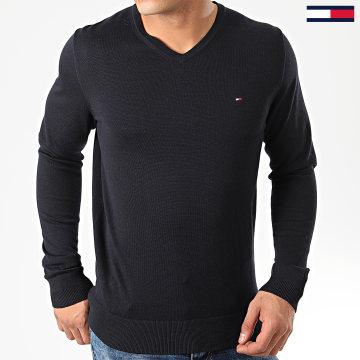 Tommy Hilfiger - Pull Col V Core-Cotton Silk 4979 Bleu Marine