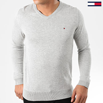 Tommy Hilfiger - Pull Col V Core Cotton-Silk 4979 Gris Chiné
