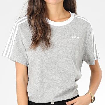Tee Shirt Femme A Bandes 3 Stripes Essential FN5779 Gris Chiné